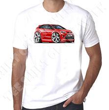 WickedArtz Cartoon Car Red Ford Focus MK2 ST  Mens 100% Cotton White  T-shirt