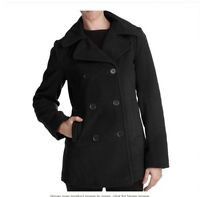 Excelled Misses Insulated Pea Coat Solid Black Jacket Sz L Warm Machine Wash New