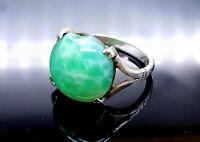Art Deco Silver Green Peking Glass ring