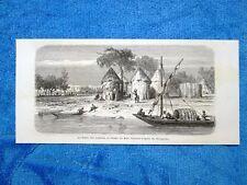 Gravure Année 1862 - Le fleuve des Gazelles - Il fiume delle Gazzelle (SudSudan)