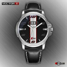 Orologio da polso Audi RS watch sfondo carbon look s Line in acciaio e pelle RS3