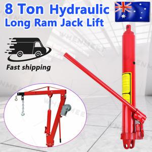 Hydraulic Long Ram Jack Lift Jacking Shop Crane Steel Engine Hoist Lifting 8 Ton