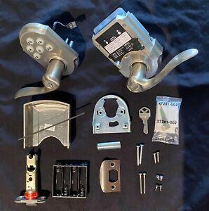 Kwikset 911 SmartCode Electronic Door Handle/Lever Lock w/SmartKey-Satin Nickel
