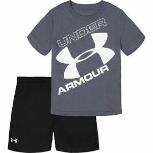 New Under Armour Toddler Boys Big Logo Shirt And Short Set Choose Size MSRP $36