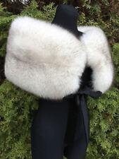 Extra Wide Blue Fox Fur Shawl 47' Inch. (120cm) Saga Furs Collar Wide Scarf