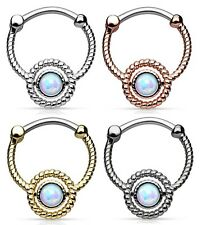 New Surgical Steel Rope Nose Septum clicker Daith Ring With Opal Stone 16g