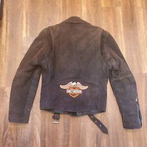 Branded Garments Leather Jacket Harley Davidson Logo Size 38 Vintage