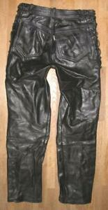 """"""" Polo """" Lace-Up Leather Jeans / Biker Trousers IN Black Size S Approx. W28 """"/"""