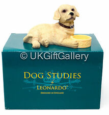 GOLDEN LABRADOR Pup With Bowl Dog Ornament Figurine by Leonardo NEW BOXED