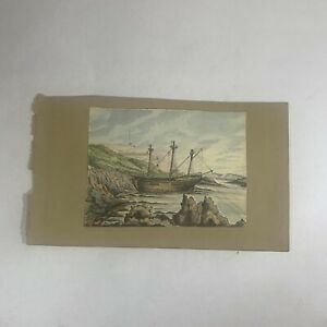Watercolour And Ink Painting Of A Ship By Cliffs Nautical Sailing Boating