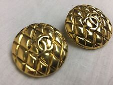 Authentic Chanel Vintage CC Logo Clips Earrings