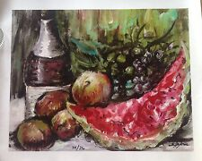 Rita Asfour Fruit Still Life Mixed Media on Canvas Signed/Numbered Certificate
