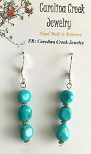 Handcrafted By Carolina Creek Jewelry Blue Turquoise Dyed Magnesite Earrings