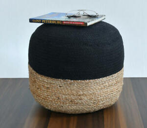 Jute Handmade knitted Pouf Cover Round 14x16x16 In Natural Jute Pouf Cover Only