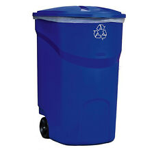 wheeled trash can with lid 45 gal outdoor hinged heavy duty recycle bin blue - Rubbermaid Trash Cans