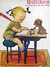 Billiken Cover 1930 LITTLE GIRL w FEATHER PEN & DOG CRYING Spanish Matted Print