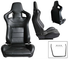 NEW 1 PAIR BLACK PVC LEATHER RECLINABLE RACING SEATS FOR ALL FORD *