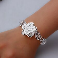 "7"" Flower Stoneless Silver Bracelet & Gift Bag, Girl Lady Birthday Xmas Present"