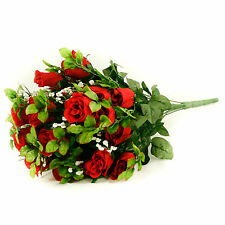 Artificial silk Rose & Gyp flower bouquet 55cm 24 stems of Red Roses