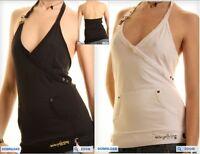 Top Canotta T-Shirt Donna ZONA BRERA  A069 Nero e Bianco Tg L