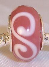 Pink White S Swirl Murano Glass Bead for Silver European Charm Slide Bracelets