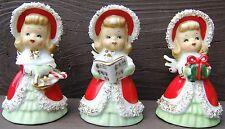 lefton ceramic Christmas angel bells japan gold spaghetti trim 3 angels vintage