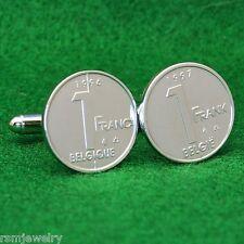 Belgian 1 Franc Coin Cufflinks, Frank Belgie Belgique Belgium (Albert II)
