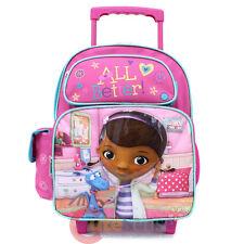 """Disney Doc Mcstuffins 12"""" School Roller Backpack Trolley Bag Toddler"""