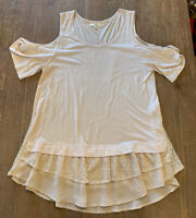 Women's Boutique Kori Ivory Cold-Shoulder Tunic Top With Lace Ruffled Hem-Size S
