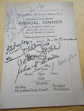 A SIGNED Thomas Street Second Old Boys Annual Dinner Menu -From The Early 1900's