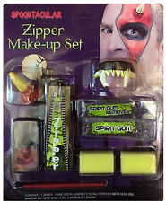 FANCY DRESS MAKE UP FACE PAINT ZIPPER KIT DEVIL HALLOWEEN FANG TEETH ZIP HORNS