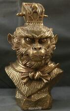 "9"" China Bronze  Myth Sun Wukong God Monkey King Head Bust Buddha 孙悟空 Sculpture"