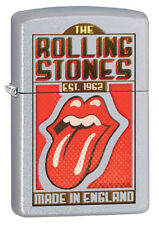 Zippo Rolling Stones Made in England Satin Chrome Petrol Lighter New 29127
