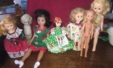 Lot Of 7 Sm-Lg Vintage Dolls Old Doll Antique Porcelain and Plastic