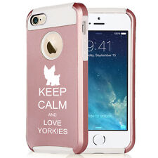 For iPhone SE 5 5s 6 6s 7 Plus Rose Gold Shockproof Case Keep Calm Love Yorkies