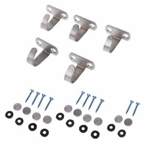 5x Stainless Steel J Shape Hook For Ceiling Cabinet Top Hanger Cloth Towel Robe