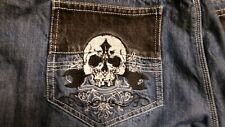 MEN'S MOTORCYCLE JEANS ICON ENFORCER STRONGARM2 w/SKULL SIZE 42 FREE SHIPPING