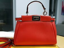 ~ 100% Authentic FENDI Micro Peekaboo Red and Silver HW Original Receipt incl.~