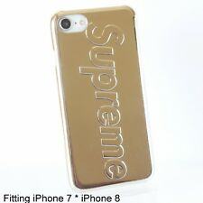 Supreme Metallic Gold Color Hard Back Cover Soft Silicone Case for iPhone 7 & 8