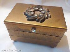 Charming Vintage Rhinestone Brass Trinket Jewelry Box Footed 3 Tier Accordion