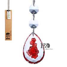 Hanging Beads Drops Carved Red Rose Prisms Crystal Lighting Chandelier Lamp Part
