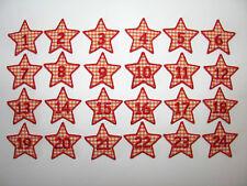 Adventskalender-Zahlen 1 bis 24 zum Aufbügeln: Stern Stoff vichy-karo orange/rot