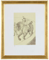 """Fine Toulouse Lautrec """"Jockey Horse' Hand Numbered 15/20 Lithograph Unframed COA"""