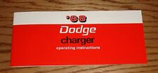 1968 Dodge Charger Owners Operators Manual 68