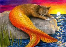 ACEO art print Cat Mermaid 30 ocean from original fantasy painting by L.Dumas