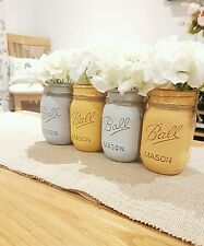 Painted Mason Jars set of 4 - Perfect for Weddings & Home decor