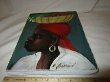 Original Haitian Artwork of woman with basket signed Foossaint Acrylic cloth