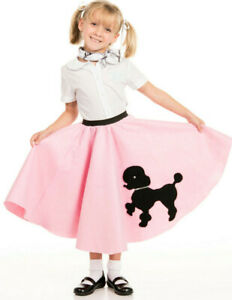 Youth Poodle Skirt Light Pink with Musical note printed Scarf