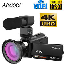 4K 1080P 48MP WiFi Digital Video Camera Camcorder & 0.39X Wide Angle Lens & Mic