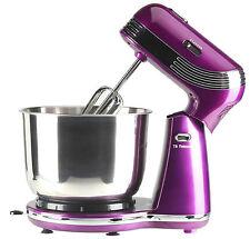 EGL Metallic Purple Modern Compact Stand Mixer Stainless Steel Bowl 6 Speeds